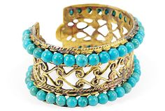 Filigree Cuff w/Turquoise made in Turkey - Jeanette Simon. OneKingsLane.com