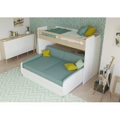 Brayden Studio Gautreau Twin Bunk Bed over Full XL Sofa Bed, Table and Trundle Bed Frame Color: Light Wood/White Bunk Bed With Trundle, Full Bunk Beds, Kids Bunk Beds, White Bunk Beds, Twin Futon, Futon Bunk Bed, Xl Sofa, Sofa Bed, Casa Kids