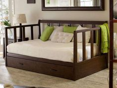Carl John Spencer Daybed With Pop Up Trundle Bed Loft Bed Design Excellent Cozy Furniture, Bedroom Furniture, Furniture Ideas, Furniture Design, Sofa Ideas, Paint Furniture, Queen Daybed Frame, Pop Up Trundle Bed, Mid Century Modern Daybed