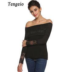 Tengeio Women Cold Shoulder Tops Patchwork Lace Off Shoulder Slash Neck black blouse Long Sleeve Summer autumn Plus Size Shirt