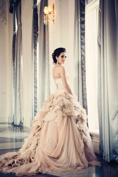 Vera Wang absolutely stunning bridal gown, soft pink and reminisent of Marie-Antoinette Style with oodles of fabric on skirt