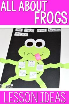 Frogs Lesson Plans! Learning about frogs in kindergarten is such a fun activity for the classroom. We used the book Growing Frogs. Reading comprehension, schema building, writing, poems, a craft, science, centers and more!