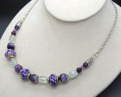 Purple Choker Style Beaded Necklace with Natural Amethyst by NecklaceNurse