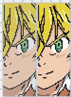 Meliodas from SevenDeadlySins Easy Pixel Art, Pixel Art Grid, Anime Pixel Art, Art Anime, Perler Bead Art, Perler Beads, Anime Meliodas, Embroidery Art, Cross Stitch Embroidery