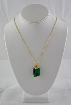 One of a Kind, Gorgeous, Gold, Malachite Handmade Necklace! on Etsy, $47.99