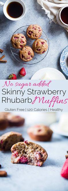 Strawberry Rhubarb Oatmeal Muffins - No added sugar