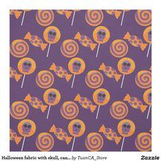 Halloween fabric with skull, candy on dark purple