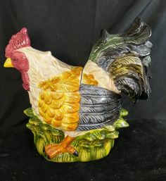 Decorative Ceramic Rooster Chicken Cookie Jar /  Canister by Jay Imports