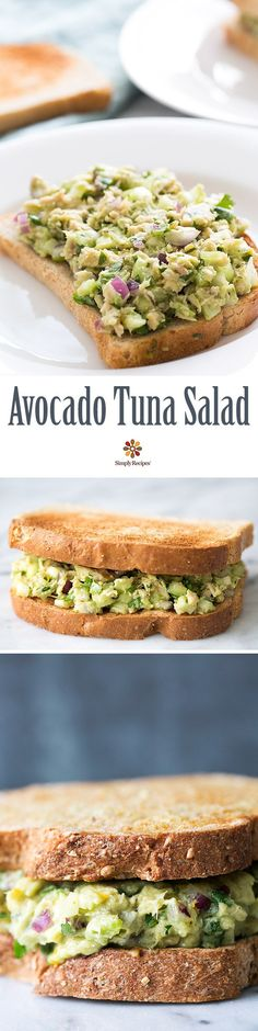 Healthy and easy! Avocado Tuna Salad with avocado, canned tuna, red onion, celery, and NO mayo. On SimplyRecipes.com
