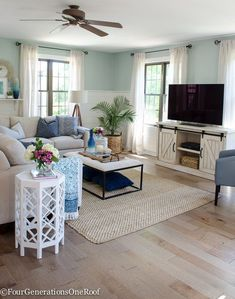 How hardwoods can really change the look of a room | Coastal Modern Farmhouse Living Room | Gorgeous Engineered Hardwood Family Room Reveal