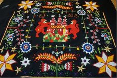 Woolen embrodiery, my own design inspired by old fashion embroidery from Skåne in Sweden Skånskt yllebroderi
