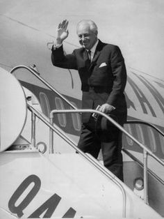 Prime Minister Harold Holt. Australia's 17th Prime Minister was only 59 years old when he went missing on 17th Dec.1967 while swimming at Cheviot Beach  (near Portsea in Melbourne). A massive search & rescue attempt was launched, but his body was never found. Australians had trouble accepting their head of state was gone & one of the most intriguing mysteries of modern Australia was born, leading to conspiracy theories ranging from murder to alien abduction & kidnap by the Chinese. Alien Abduction, Head Of State, Search And Rescue, Conspiracy Theories, Prime Minister, Melbourne, Mystery, Old Things, Faces