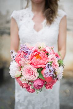 Pink and purple wedding bouquet  #gardenwedding