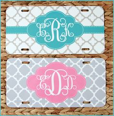 License Plate Monogrammed Gifts Personalized Car Tag Car State Accessories Mobile Accessories Gift Ideas For Her Travel Sweet 16 Clover by ChicMonogram on Etsy