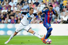 Neymar Jr of FC Barcelona fighting for the ball with Fernando Navarro of RC Deportivo during the Spanish League match between FC Barcelona vs RC...