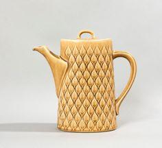 quistgaard teapot modern relief danish pottery stoneware mid century vintage