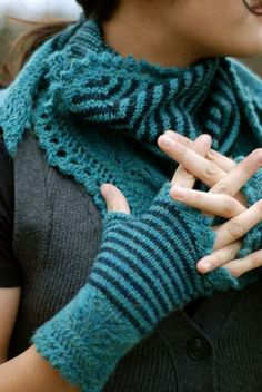 Gorgeous colors in Andrea's Shawl & Mitts, by Kirsten Kapur
