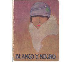 1920s Blanco Y Negro Magazine Cover, Lady in Cloche Hat.