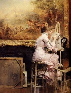 """"""" Young Watercolourist in the Louvre Pascal Adolphe Jean Dagnan-Bouveret (French, Oil on canvas. Seated on her high stool at the Louvre, a young woman artist in late. Love Painting, Painting & Drawing, Art Ancien, Religious Paintings, Artist Supplies, Photo D Art, Great Paintings, Oil Paintings, Inspiration Art"""
