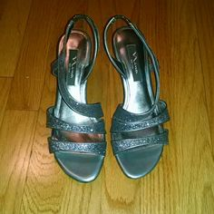 """Nina Silver Glitter Leather Strappy Heels Beautiful shimmering strappy 2"""" heels. Worn once. Great for weddings or prom!! Make an offer!! Nina Shoes Heels"""