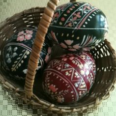 Easter eggs made 60 yrs. ago using straight pin, beeswax and dye....I have some a friend made at least 30 years ago!