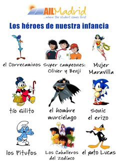 Discover the #Spanish version of your childhood heroes with this #vocabulary ! :D ✿ Spanish Learning/ Teaching Spanish / Spanish Language / Spanish vocabulary / Spoken Spanish ✿ Share it with people who are serious about learning Spanish!