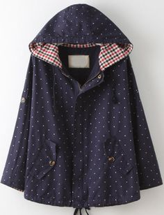 Shop Navy Hooded Long Sleeve Polka Dot Coat online. Sheinside offers Navy Hooded Long Sleeve Polka Dot Coat & more to fit your fashionable needs. Free Shipping Worldwide!