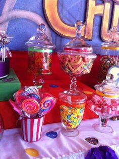 Candy jars at a Candy Crush Party!  See more party ideas at CatchMyParty.com!  #partyideas #candy