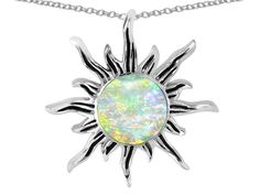 Star K Round Created Opal Flaming Sun Pendant Necklace