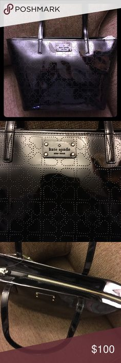 """NWT Kate Spade Black Small Harmony Metro Spade♠️ Kate Spade Small Harmony Tote ♠️Perforated Black Patent Polyvinyl ♠️Zipper Pocket & 2 Additional Pockets in the lining ♠️Zip Top ♠️18""""W x 10""""H x 6""""D ♠️9"""" Drop ♠️Perfect Shoulder Bag ♠️WKRU1878 ♠️Please feel free to ask questions... kate spade Bags Totes"""