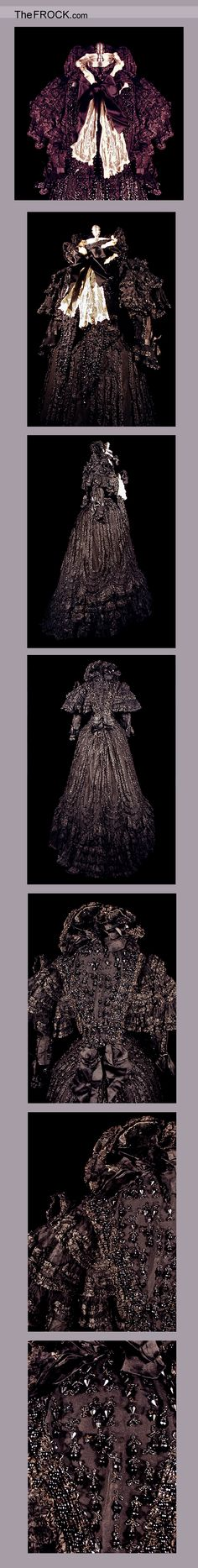 An Authentic Victorian Mourning Gown.  (Pretty fancy - maybe a half mourning dress because it's not black?)