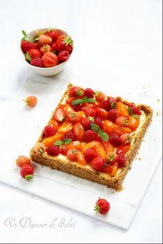 Cheesecake à la ricotta, framboises et abricots poêlés