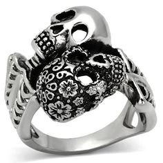 "Stainless Steel ""Day of the Dead"" Skull Skeleton Ring"