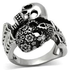 """Stainless Steel """"Day of the Dead"""" Skull Skeleton Ring"""
