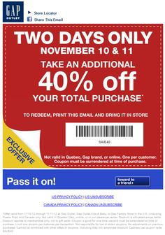 Extra 40% off this weekend at Gap Outlet locations coupon via The Coupons App