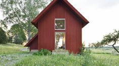Bollbacken - Rödfärgspriset Cabana, Glass Pocket Doors, Brick Laying, Wooden Steps, Timber Frame Homes, The Gables, Exterior, House And Home Magazine, Contemporary Architecture