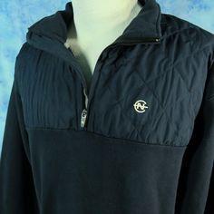 NAUTICA COMPETITION Mens L Navy Blue 1/4 Zip Sweatshirt Jacket Yacht Sailing #Nautica #14Zip
