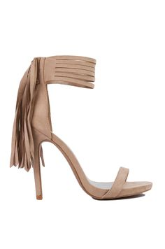 Open Toe Fringe Ankle Strap Taupe Heeled Sandals | Womens Shoes | AKIRA