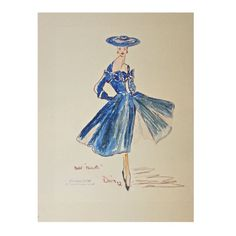 very rare 1952 CHRISTIAN DIOR fashion sketch | From a collection of rare vintage decorative objects at https://www.1stdibs.com/fashion/ephemera/decorative-objects/