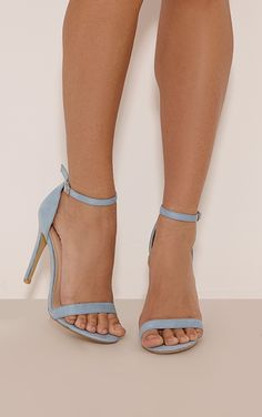 Clover Dusty Blue Strap Heeled Sandals
