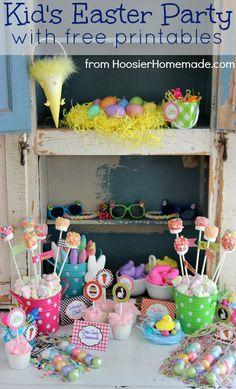 Kids Easter Party with FREE Printables :: HoosierHomemade.com Hoppy Easter, Easter Eggs, Easter Food, Easter Bunny, Easter Printables, Free Printables, Party Printables, Easter Birthday Party, Easter 2015