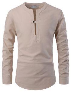Beijing Slit Collar Henley Shirt
