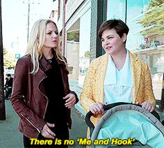 Emma and Mary Margret // yeah, sure Emma. Mary Margaret's reaction though  she knows captain swan IS A THING! #ouat #onceuponatime
