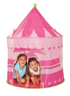 "A place of their own, easily assembled and perfect for pretending, our princess play house is generously sized to let two or more little adventurers play. Made of sturdy material, standing 54"" tall, and with two mesh windows, your princess will be imagining for hours on end– make believe has never been more enchanting. For ages 3-6 yrs. Available at www.playmatterstoys.com"