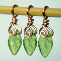 TINY LEAVES - Handcrafted Stitch Markers - Set of 3 - Perfect for Sock Knitters - US3. $9.00, via Etsy.