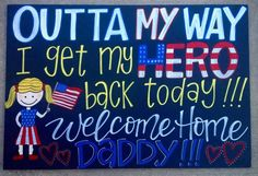Military homecoming sign / Deployment Sign / Welcome Home / Armed Forces / Navy… Welcome Home Signs For Military, Welcome Home Soldier, Welcome Home Daddy, Welcome Home Parties, Military Homecoming Signs, Homecoming Posters, Military Signs, Military Life, Homecoming Dresses