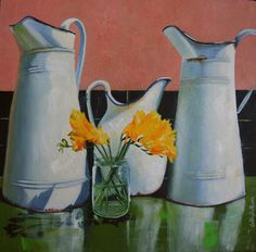 Original Oil Painting of Vintage  Pitcher Jugs and yellow flowers original art vintage country italian kitchen oil painting yellow flowers jug pitcher vintage country kitchen floral painting 200.00 EUR #goriani