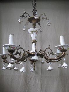Antique Porcelain Chandelier Tole Flowers