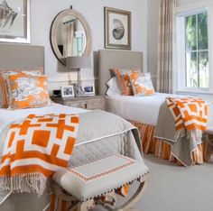 Designer spotlight: joy tribout guest bedrooms, twin bedroom ideas, two bed Twin Beds Guest Room, Bedroom Orange, Bedroom Decor, Bedroom Colors, Beautiful Bedrooms, Small Guest Rooms, Guest Bedrooms, Bedroom Design, Home Decor