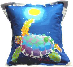 Turtle Moon Indoor Outdoor Pillow: Beach Decor, Coastal Decor, Nautical Decor, Tropical Decor, Luxury Beach Cottage Decor
